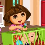 Dora Baby Caring Slacking - A professional babysitter at friv best game